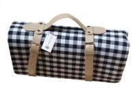 Picnic Blanket Black & White Check with Strap