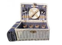 Willow Whitewash Four Person Picnic Hamper with Rug