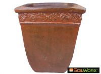 Orange Rustic Square Pot